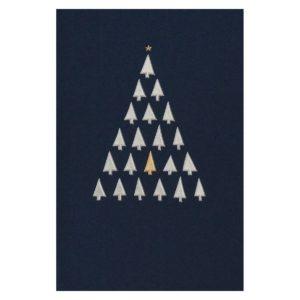 Weihnachtskarte, dunkelblauer Karton, inkl. Einlegeblatt, silberne und goldene Folienprägung Klappkarte