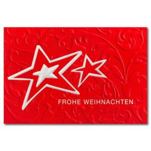 Weihnachtsklappkarte, Designkarton in rot, Folienprägung silber, mit Blindprägung, inkl. Einlegeblatt