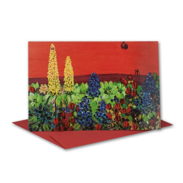 Glückwunschkarte, Aquarell Fülle des Lebens, Blumenwiese
