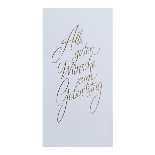Glückwunschkarte, Alle Guten Wünsche zum Geburtstag, mit goldener Folienprägung