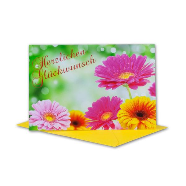 Glückwunschkarte, Herzlichen Glückwunsch, mit bunten Gerberas