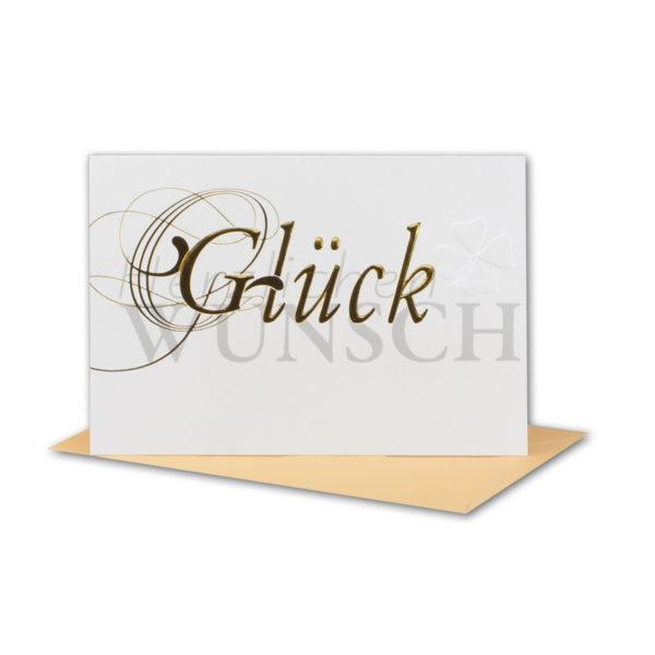 Glückwunschkarte, Glückwünsche mit Kleeblatt, Blindprägung und goldene Folienprägung
