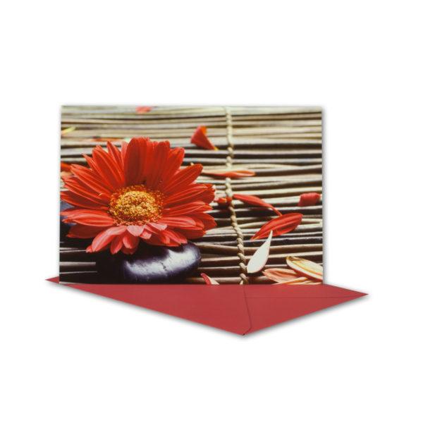Glückwunschkarte, rote Gerbera und Geflecht