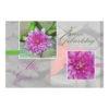Glückwunschkarte, Zum Geburtstag Alles Gute, rosa Blume mit Stein und Bambus