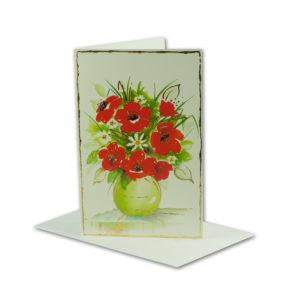 Glückwunschkarte, Mohnblumen-Strauß