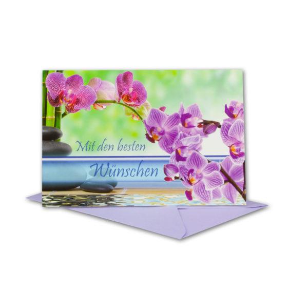 Glückwunschkarte, Mit den besten Wünschen, rosa Orchideenzweig