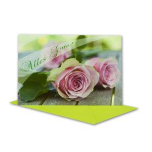Glückwunschkarte, Alles Gute, mit rosa Rosen