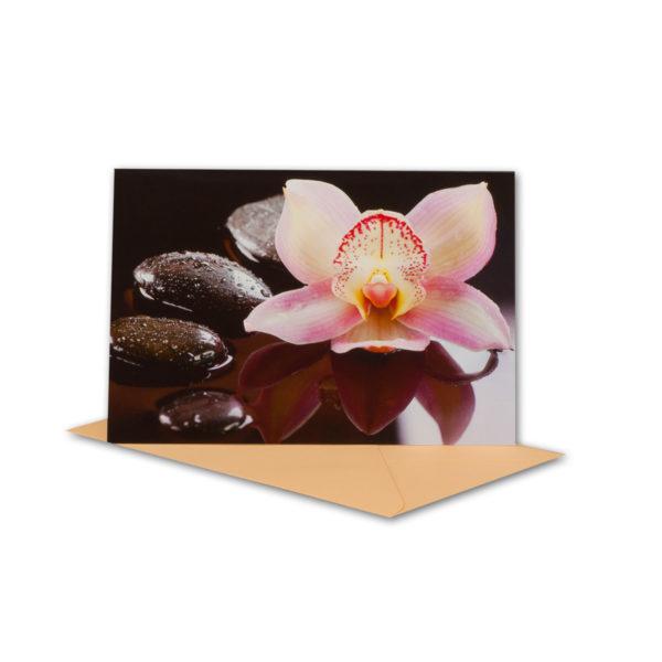 Glückwunschkarte, Orchidee mit Steinen