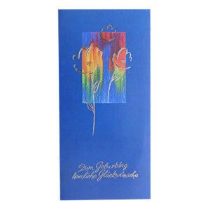 Glückwunschkarte blau mit Text