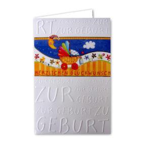 Zur Geburt Herzlichen Glückwunsch Reliefprägung gelber Umschlag