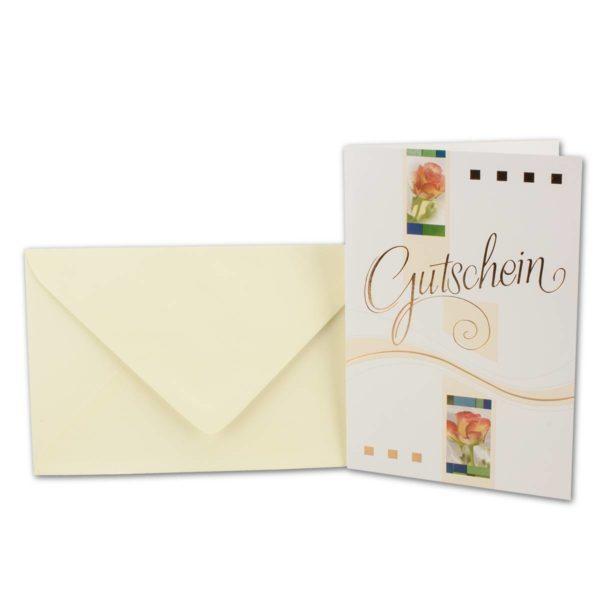 Gutscheinkarte mit Goldschrift- beige Umschläge, cellophaniert