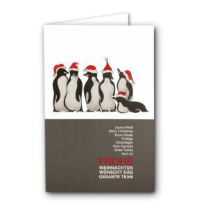 """Weihnachtskarte, Teamkarte Motiv """"Pinguine """", rote Folienprägung"""