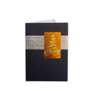 Weihnachtskarte, blau, mit Kupfer- und Silberprägung