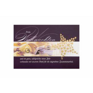 Weihnachtskarte, Pflaume mit Text und gold geprägten Sternen