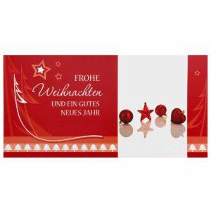 Weihnachtskarte, rote Weihnachtskugeln, mit Reliefprägung