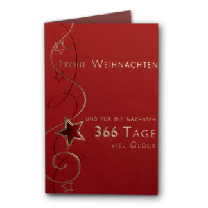 """Weihnachtskarte, roter Karton, """"366 Tage"""", Rot- und Silberprägung"""