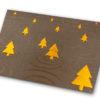 Weihnachtskarte, brauner Karton, transparent Folie, bronzefarbene Tannenbäume