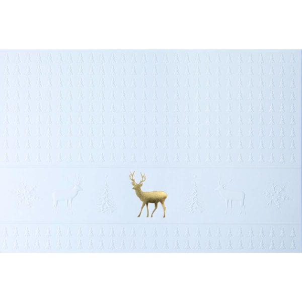 Weihnachtskarte weiß mit goldenem Hirsch