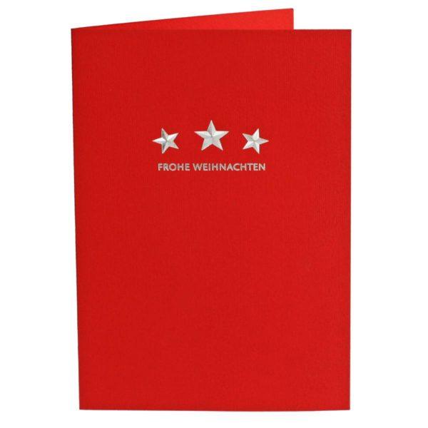 Weihnachtskarte, roter Karton, Folienprägung silber