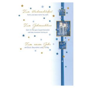 Weihnachtsbrief mit silbernen Kerzen