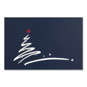 Weihnachtskarte, Laserkarte, dunkelblauer Karton, Folienprägung silber und rot