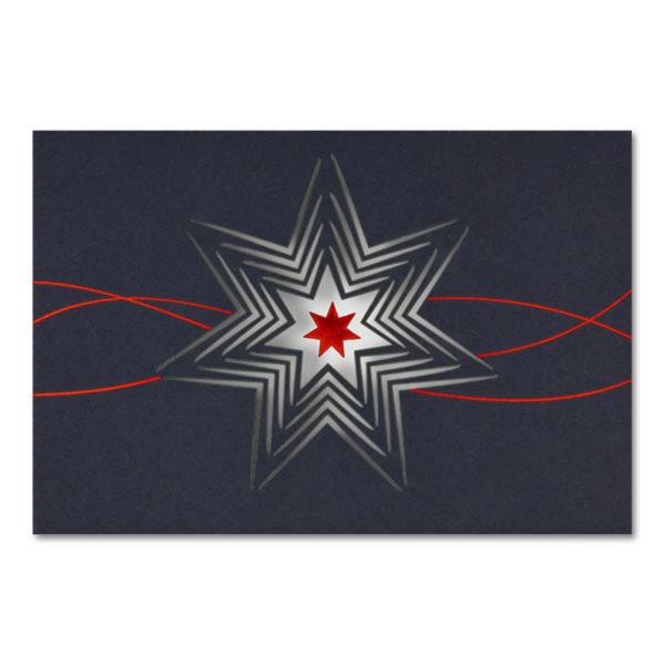 Weihnachtskarte, Laserkarte, dunkelblauer Karton, Folienprägung rot