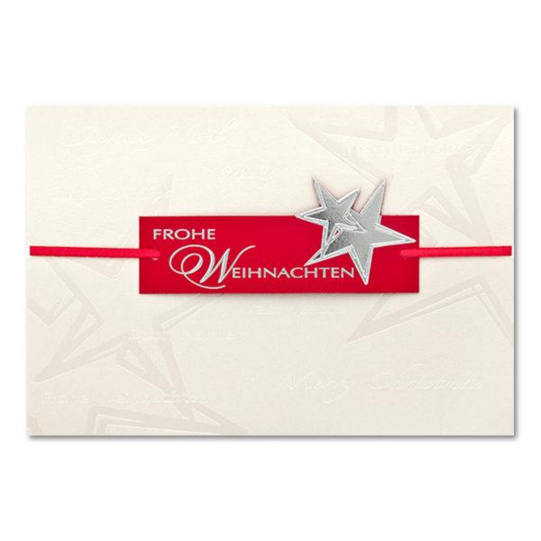 Weihnachtskarte, irisierender, cremefarbener Karton, Folienprägung transparent, Blindprägung, Banderole mit Folienprägung silber