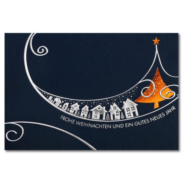 Weihnachtskarte, dunkelblauer Karton, Folienprägung silber und Kupferholographiefolie, Relieffolienprägung