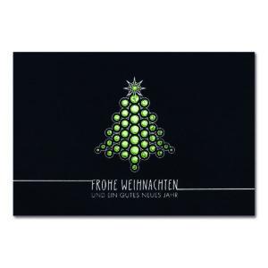 """Weihnachtskarte """"Weihnachtskugeln"""" blau mit Foliendruck gold"""