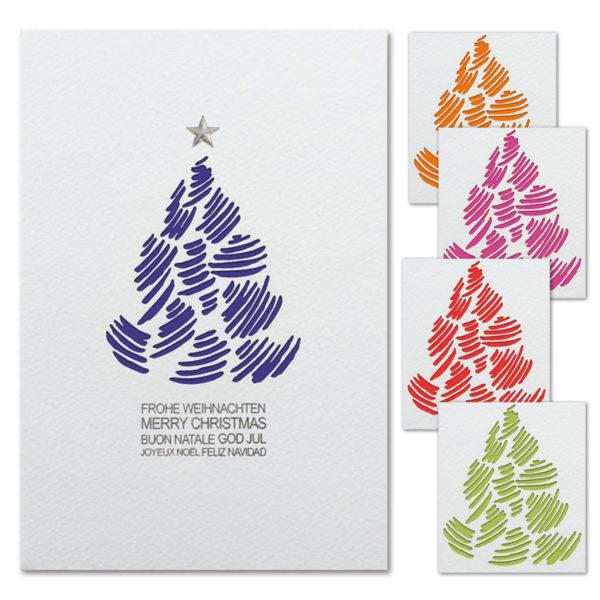 Weihnachtskarte, cremefarbener Karton, Folienprägung silber