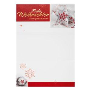 Weihnachtsbrief, Weihnachtsbäume und rote Sterne