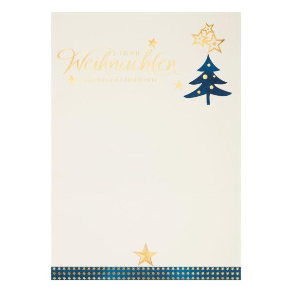 Weihnachtsbrief, Weihnachtsbaum und goldener Stern