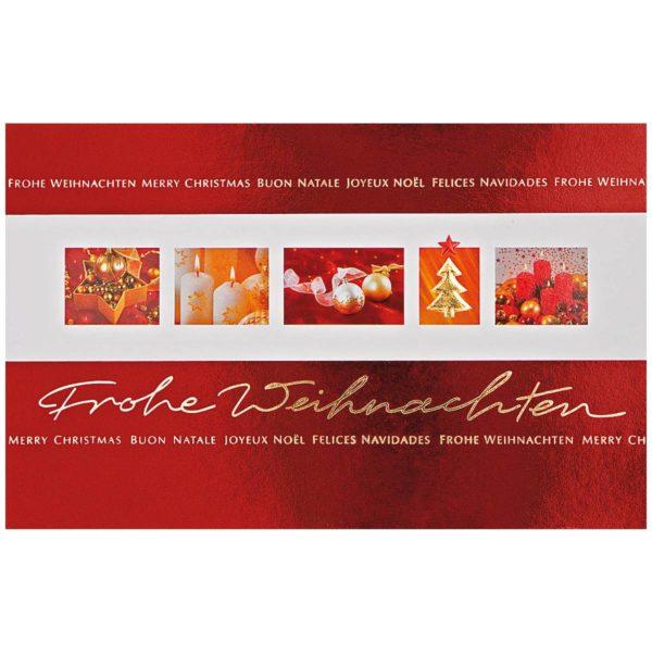 """Weihnachtskarte """"Bilderband"""" mit Foliendruck rot und gold"""