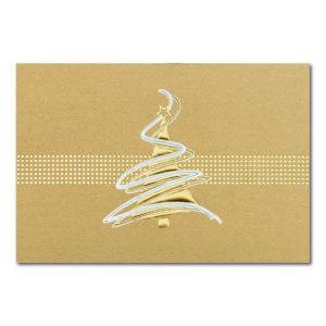 Weihnachtskarte, goldener Karton, Folienprägung gold, silber und weiß