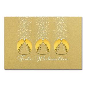 Weihnachtskarte, goldener Karton, Folienprägung gold und weiß, Blindprägung
