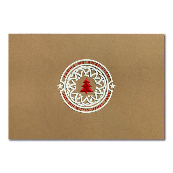 Weihnachtskarte, brauner Ökokarton, Folienprägung weiß und rot matt, Blindprägung