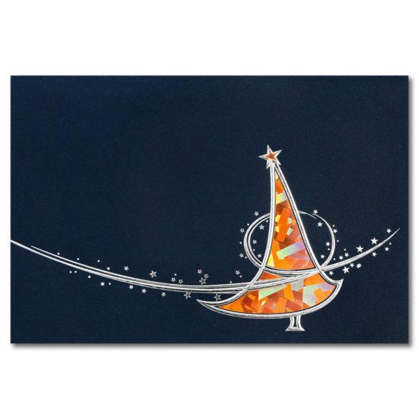 Weihnachtskarte, dunkelblauer Karton, Folienprägung silber und Kupferholographiefolie