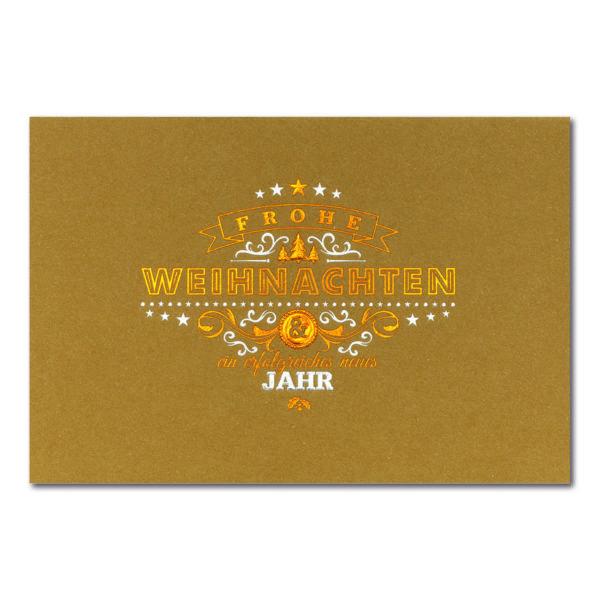Weihnachtskarte, brauner Ökokarton, Folienprägung silber und kupfer