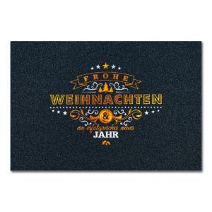 Weihnachtskarte, irisierender, dunkelgrauer Karton, Folienprägung silber matt und kupfer