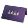 Weihnachtskarte lila mit bedrucktem weißem Einlegeblatt