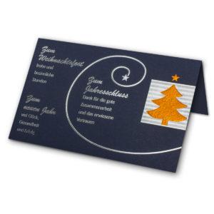 Weihnachtskarte blau,Silber-Prägung, mit weißem Einlegeblatt
