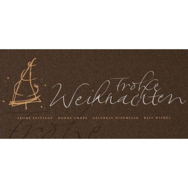 Weihnachtskarte, irisierender dunkelbrauner Karton, silberne und goldene Folienprägung