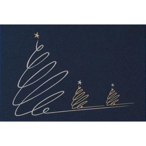 Weihnachtskarte mit silbernem und goldenem Weihnachtsbaum