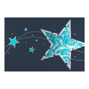 Weihnachtskarte, dunkelblauer Karton, Folienprägung silber und türkis