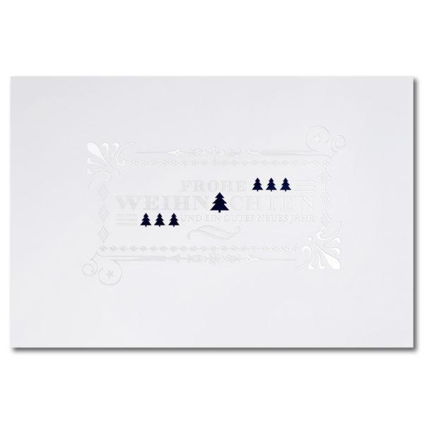 Weihnachtskarte, weißer Karton, Folienprägung silber und blau matt