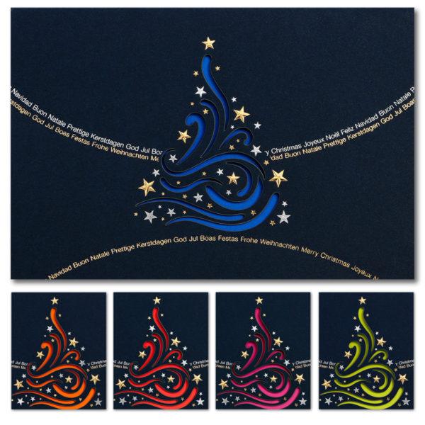 Weihnachtskarte, Laserkarte, dunkelblauer Karton, Folienprägung silber und gold