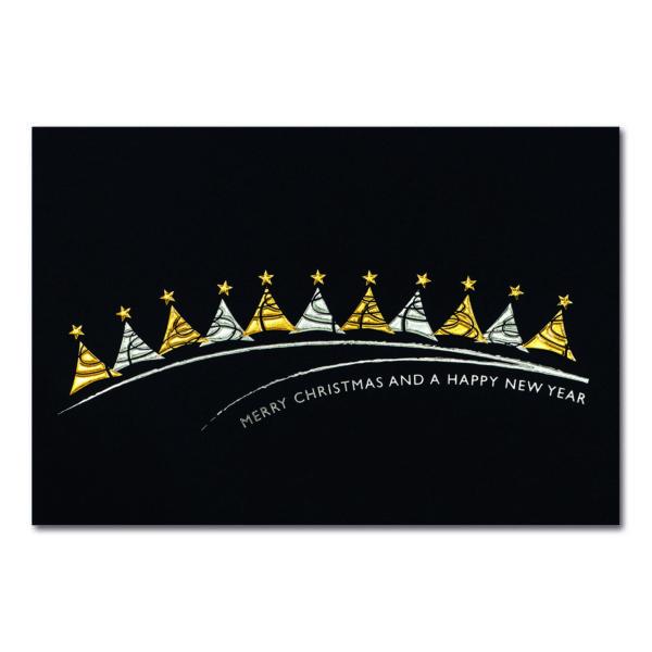 Weihnachtskarte, dunkelblauer Karton, Folienprägung silber und gold, Blindprägung