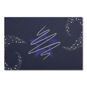 Weihnachtskarte, Laserkarte, dunkelblauer Karton, Folienprägung silber